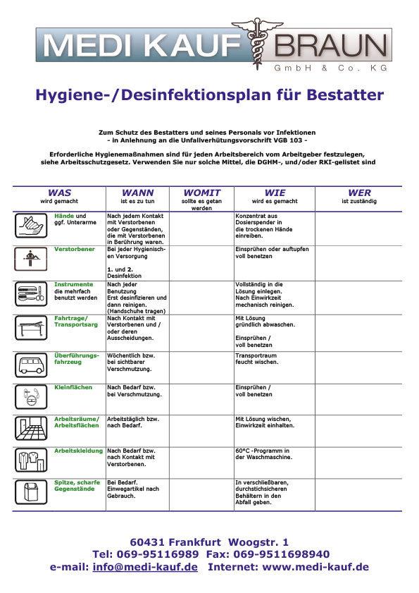 Reinigungsplan Desinfektionsplan Toilette